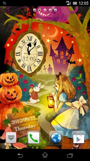 アリス in Halloween 時計付きライブ壁紙