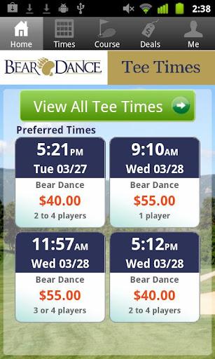 Bear Dance Golf Tee Times
