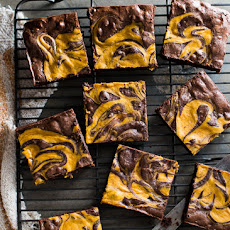 Fudgy-Chewy Pumpkin Swirl Brownies