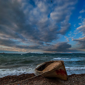 boat by Enver Karanfil - Landscapes Sunsets & Sunrises ( clouds, sea, boat )