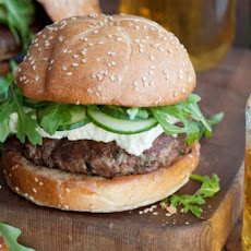 Lamb Burger with Arugula, Feta & Cucumbers Recipe