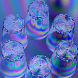 Rainbow glass by Britt-marie Pålsson - Abstract Patterns ( plastic, glasses, colorful, upclose, rainbow )