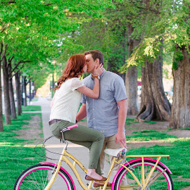 Love on a bike by Jessica Davies - People Couples