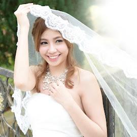 Smile by Jun Yang - Wedding Bride ( girl, wedding, beauty, smile, bride )