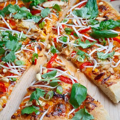 Thai Chicken Pizza with Sweet Chili Sauce