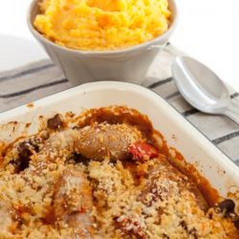 Pork Sausage And Butter Bean Bake With Root Vegetable Mash