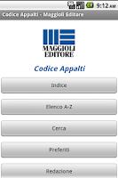 Screenshot of Codice degli Appalti