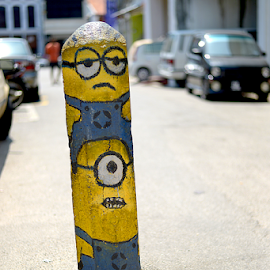 Minions on the streets! by Kevin Chua - City,  Street & Park  Street Scenes ( minions, art, street, pillar, despicable me )