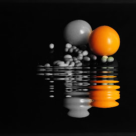 Spheres in Reflection by Prasanta Das - Digital Art Abstract ( reflection, composition, spheres, digital )