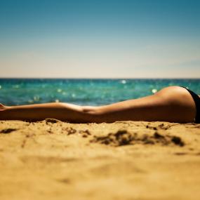 by John Iosifidis - People Body Parts ( girl, woman, sea, summer, bathing suit, legs, tan, sun )