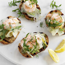 Prawn Bruschetta With Lemony Fennel Salad