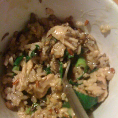 Wine-Free Wild Rice Risotto with Mushrooms and Chicken