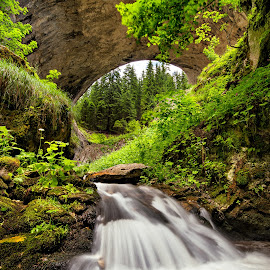 Wonder bridges by Evgeni Ivanov - Landscapes Travel ( stream, mountain, famous place, wood, waterfall, wonder bridge, stone, rock, landscape, cave, natural arch, nature, tree, long exposure, travel destinations, bulgaria, rhodope mountains, water, flowing, green, forest, tourism, wide, large, river )