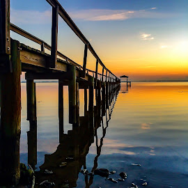Smooth as glass by Etta Cox - Instagram & Mobile iPhone ( reflection water sunrise sky pier )