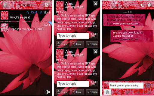 Go sms theme Red Lotus