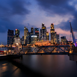Singapore Skyline by Yahya Ayob - Buildings & Architecture Office Buildings & Hotels ( skyline, sunset, singapore, golden hour, singapore river )