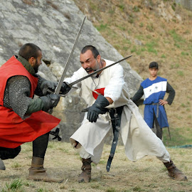 Medieval duel. by Antonio Amen - People Musicians & Entertainers ( knights, fight, warriors, swards, kings, medieval, duel )