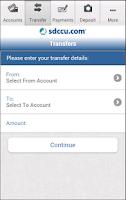 Screenshot of SDCCU Mobile Banking