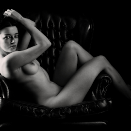 in the hot seat by Paul Phull - Nudes & Boudoir Artistic Nude ( chair, art nude, black and white, legs, boobs )