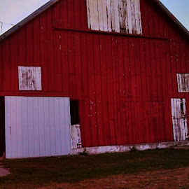 The Ole Red Barn  by Dee Shahan - Buildings & Architecture Other Exteriors ( iowa, red, barn, farmland, barns )