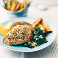 Pepper-Crusted Tuna with Oven Fries and Lemon Spinach