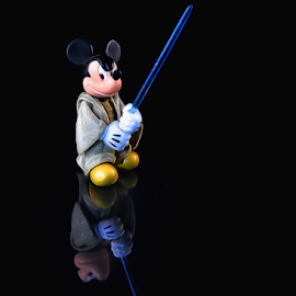Battle Mickey on Black by Bill Tiepelman - Artistic Objects Toys ( table top photography, mickey mouse, toy, light box, disney, figurine )