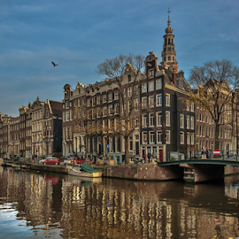 Goedemorgen! by Jesus Giraldo - City,  Street & Park  Neighborhoods ( concept, reflection, colors, buildings, amsterdam, architecture, beauty, channel, city )