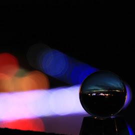 Shooting Le Ball by Daniel Nugent - Abstract Macro ( mood, mood factory, holiday, christmas, hanukkah, red, green, lights, artifical, lighting, colors, Kwanzaa, blue, black, celebrate, tis the season, festive )