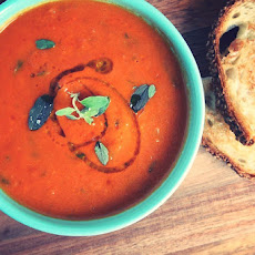 Homemade Tomato Soup with Truffle Grilled Cheese
