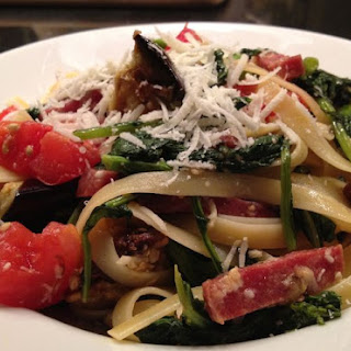 Chock-Full Fettuccine with Sausage, Eggplant and Broccoli Rabe