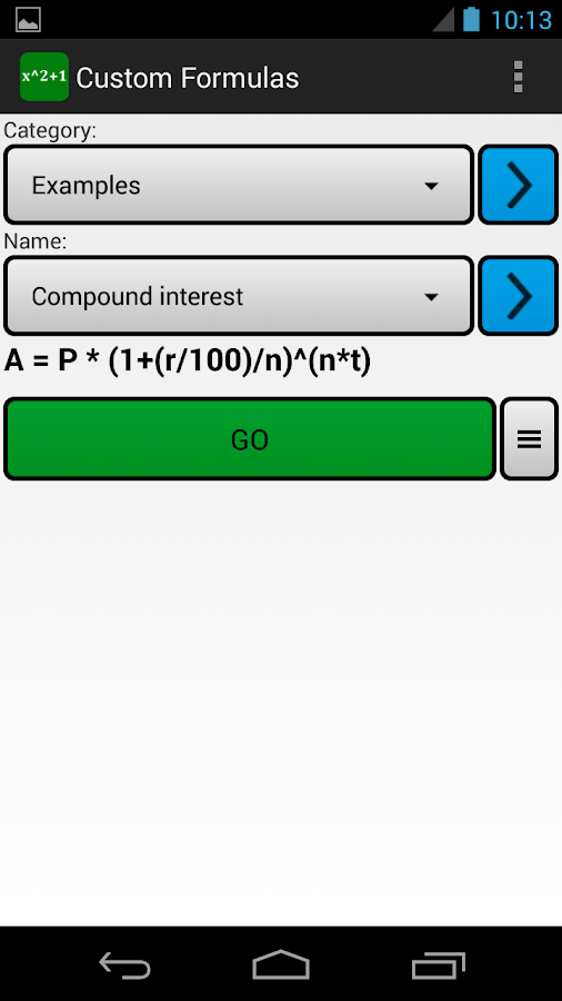 Custom Formulas Screenshot