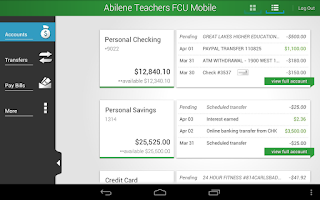 Screenshot of Abilene Teachers FCU Mobile