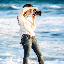 Shooting on the water by Amanda Jean - People Street & Candids ( water, cheach, shoot, sunset, camera, photographer )