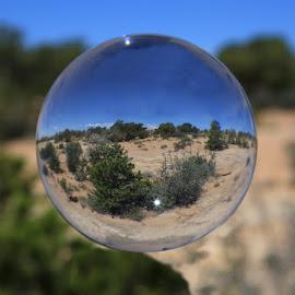 Desert through a Crystal Ball by Ken Miller - Landscapes Deserts ( desert, crystal ball, arizona, landscape, canyon de chelly )
