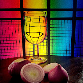 Onions and glass by Janette Ho - Artistic Objects Still Life ( purple, yellow, color,  )