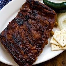 Ribs with Sam Houston's barbecue sauce