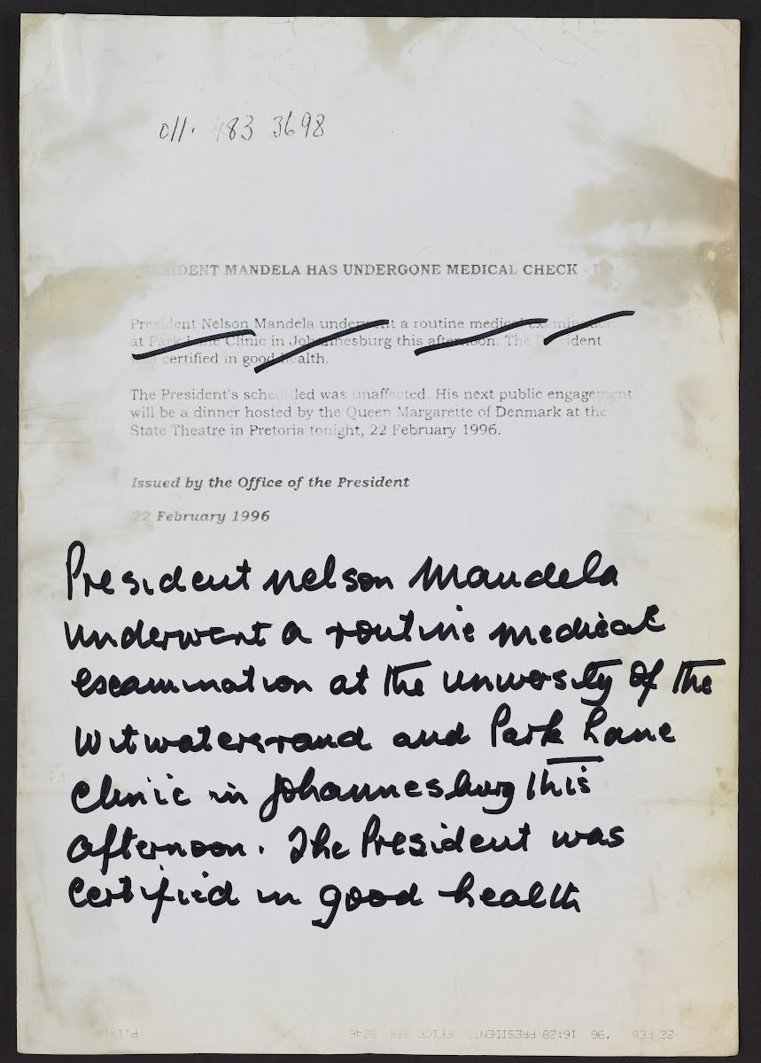 HEALTH STATUS: This typed note with a paragraph scratched out and replaced by one in his hand is housed in the archive of the Nelson Mandela Centre of Memory.