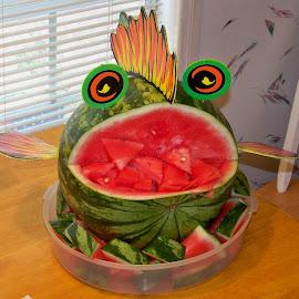 Blowfish by Philip Molyneux - Food & Drink Fruits & Vegetables ( fancy, eat, display, watermelon, carve, blowfish )