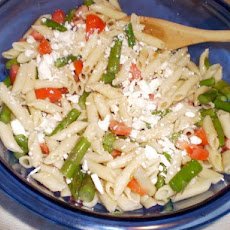 Red, Gold and Green Asparagus- Tomato- Pasta Salad