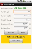 Screenshot of Retirement Plan