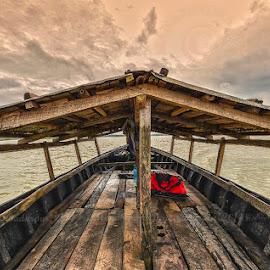 Journey through the Storm by Manabendra Dey - Transportation Boats ( shonbill, cloud, sonbill, boat, karimganj )