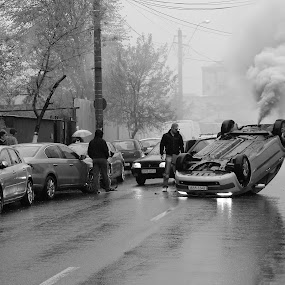 The car crash by Florin Cepraga - News & Events Disasters ( car, accident, street, smoke, crash, , people, crowd, humanity, society )