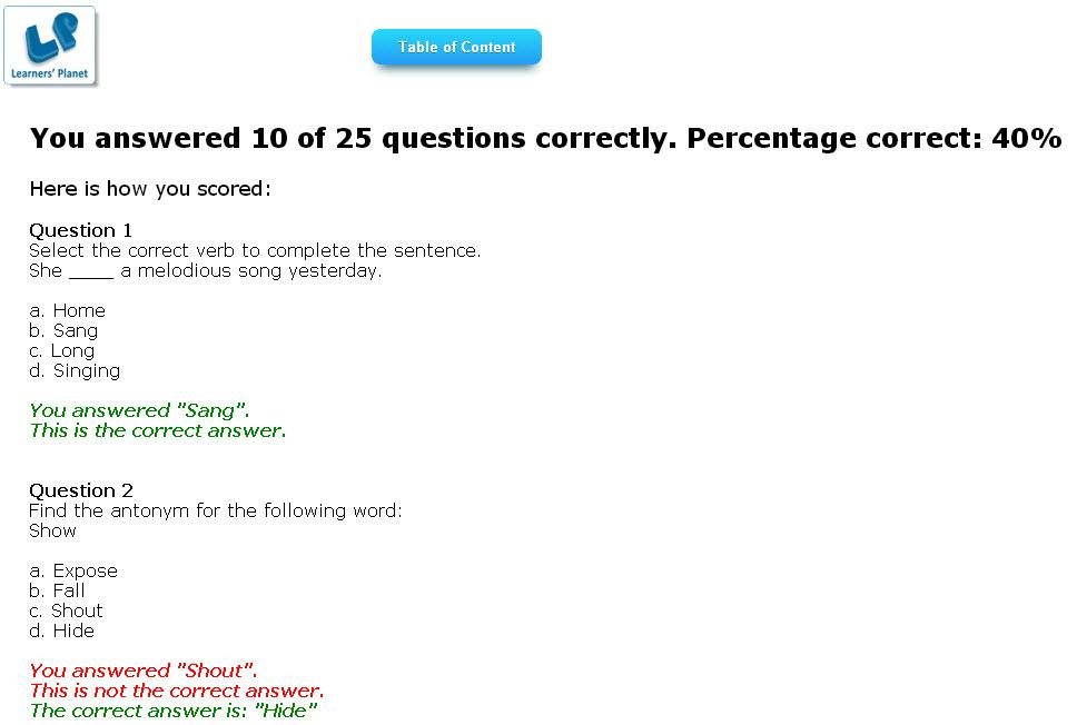 english grammar test papers for grade 6