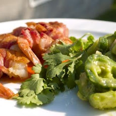 Bacon-Wrapped Shrimp With Chunky Tomatillo Salsa and Tomato Vina