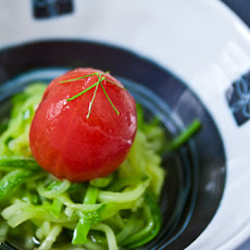 "Poached Tomato with Zucchini ""Soba"""