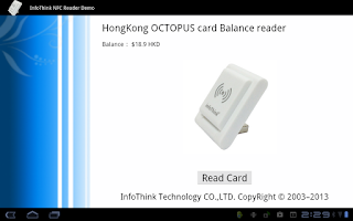 Screenshot of InfoThink NFC Reader Demo