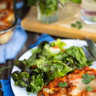 Quinoa, Black Bean & Green Chili Enchiladas with Roasted Red Pepper Enchilada Sauce {gf}