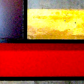 Mondrian 2 by Ronnie Caplan - Digital Art Abstract ( parking garage, red, squares, indoor, signage, grey, yellow, stripes, black )