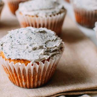 Peanut Butter Cupcakes with Black Sesame Frosting