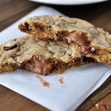 Swirled Peanut Butter and Nutella Stuffed Chocolate Chip Cookies